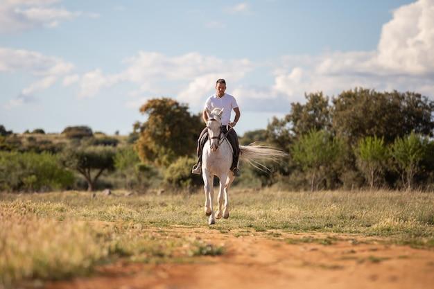Młody facet w swobodnym stroju na białym koniu na piaszczystej drodze