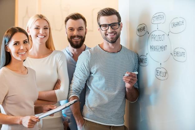 Młody i odnoszący sukcesy zespół. grupa wesołych młodych ludzi biznesu w eleganckich ubraniach na co dzień, patrzących w kamerę i uśmiechających się, stojąc razem w pobliżu tablicy