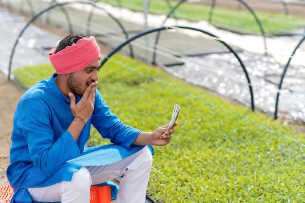 Młody indyjski rolnik liczący i pokazujący pieniądze w szklarni