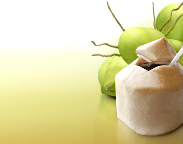 Młody kokos na stałym tle