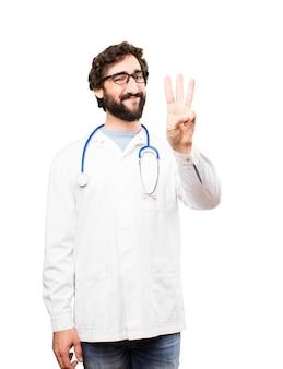 Młody mężczyzna lekarz znak liczby