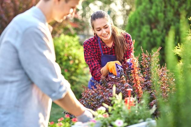 Młody ogrodnik w ogrodowych rękawiczkach stawia doniczki z sadzonkami w białym drewnianym pudełku na stole, a dziewczyna przycina rośliny w cudownym ogrodzie przedszkolnym w słoneczny dzień. .