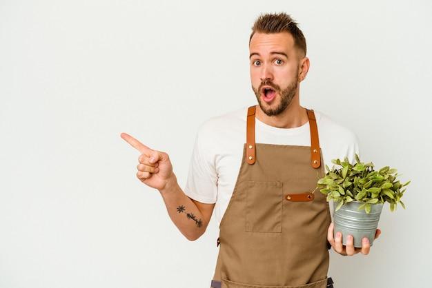 Młody ogrodnik wytatuowany kaukaski mężczyzna trzyma roślinę na białym tle na białej ścianie, wskazując w bok