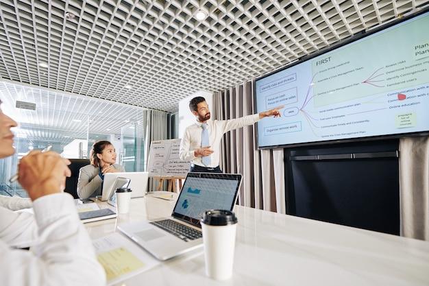 Młody przedsiębiorca wskazujący na schemat opisujący sposoby rozwoju firmy w czasie pandemii