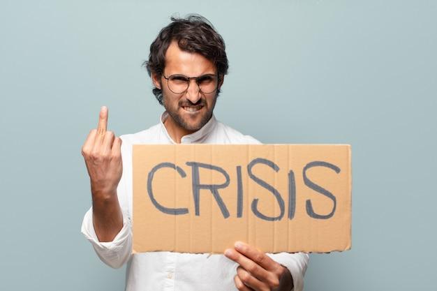 Młody przystojny mężczyzna indyjski koncepcja kryzysu