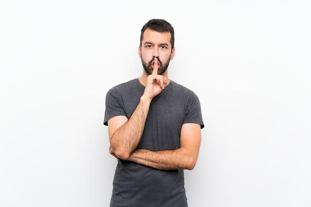 Młody przystojny mężczyzna pokazuje znak cisza gesta kładzenia palec w usta