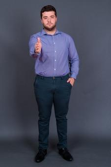 Młody przystojny nadwagą brodaty biznesmen na szaro
