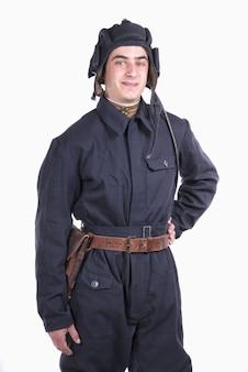 Młody radziecki kierowca czołgu