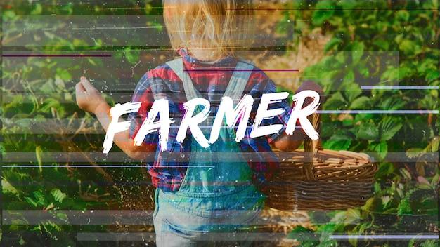 Młody rolnik styl życia outdoors zielonych rośliien grafika