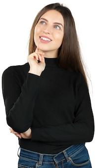 Młody rozważny kobiety rojenie odizolowywający na bielu