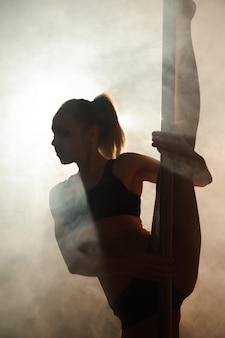 Młody seksowny kobiety ćwiczenia słupa taniec na zmroku.