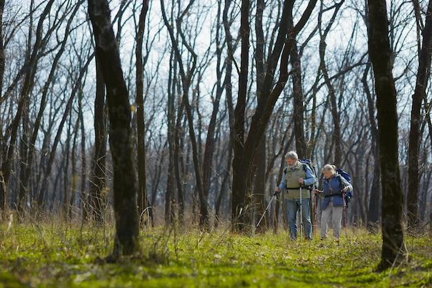 Młody sercem. starsza rodzina para mężczyzna i kobieta w strój turystyczny spaceru na zielonym trawniku w pobliżu drzew w słoneczny dzień. pojęcie turystyki, zdrowego stylu życia, relaksu i wspólnoty.