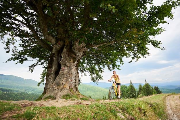 Młody szczęśliwy kobieta rowerzysta jedzie na żółtym halnym bicyklu pod dużym drzewem, cieszy się letniego dzień w górach. aktywność na świeżym powietrzu, koncepcja stylu życia