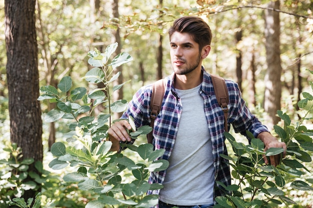 Młody turysta mężczyzna w lesie.