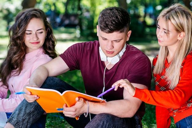 Młodzi ludzie studiujący w parku