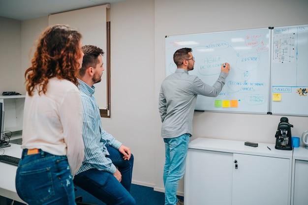 Młodzi pracownicy uczą się i omawiają inżynierię podczas korzystania z białej tablicy