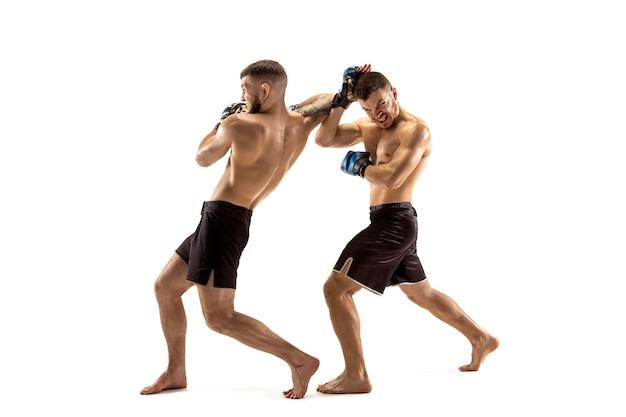 Mma dwóch profesjonalnych wojowników uderzających lub bokserskich na białym tle studia