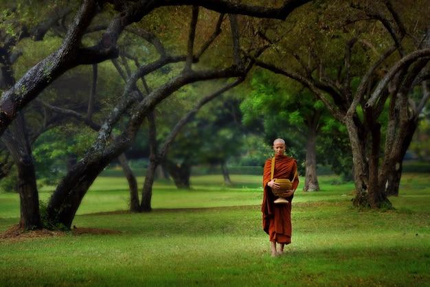 Mnisi buddyjscy w wat phra sri sanphet w prowincji ayutthaya w tajlandii.