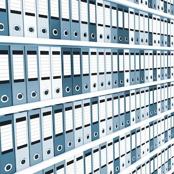 Mnóstwo folderów biurowych na półkach. stonowany na niebiesko