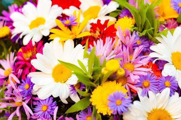 Mnóstwo różnorodnych, pięknie kwitnących kwiatów w jednym letnim bukiecie
