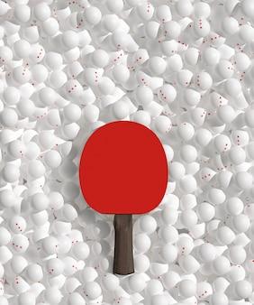 Mnóstwo trzech gwiazd rozrzuconych białe piłki do ping ponga i rakieta. pomysł na plakat do tenisa stołowego. 3d ilustracji.