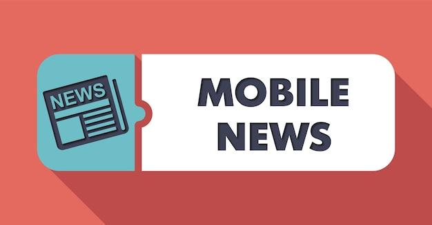 Mobile news concept on scarlet w płaskiej konstrukcji z długimi cieniami.