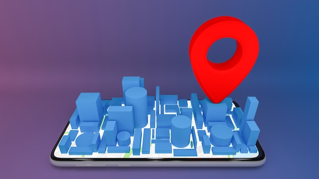 Mobilna cyfrowa mapa miasta z czerwonymi wskaźnikami pin, koncepcja dostawy, renderowanie 3d.