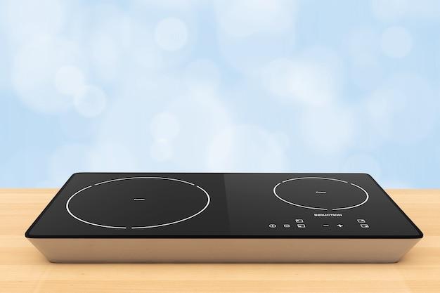 Mobilna przenośna kuchenka indukcyjna na drewnianym stole. renderowanie 3d.