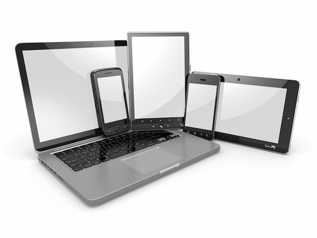 Mobilny laptop na białym tle