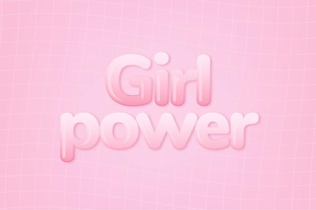 Moc dziewczyny w słowie w stylu tekstu różowej gumy do żucia