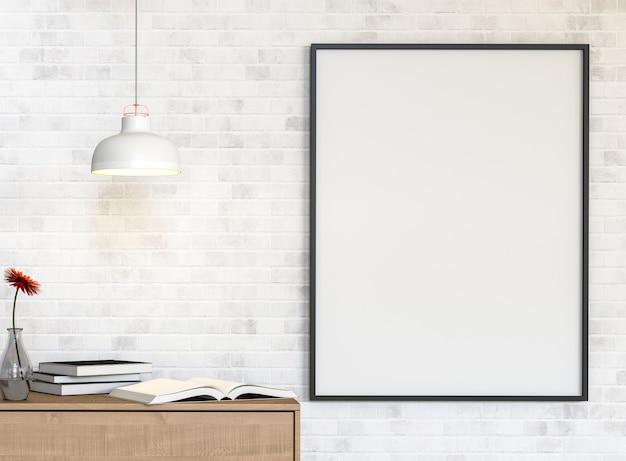 Mockup plakat na ściana z cegieł z biurko książkami. renderowania 3d