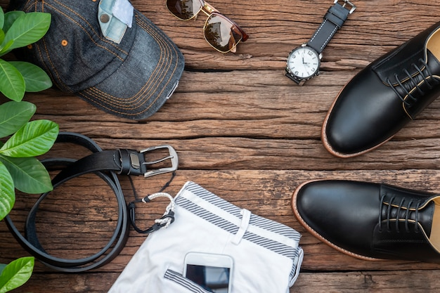 Moda męska zestaw ubrań i akcesoria ramki