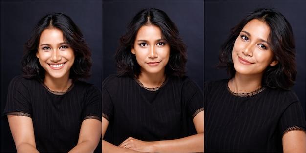 Moda uroda kobieta ma proste czarne włosy patrzy w kamerę i wyraża uczucie szczęśliwego uśmiechu. portret azjatyckiej dziewczyny nosi czarną koszulę na ciemnym tle, portret pół ciała kopii przestrzeni