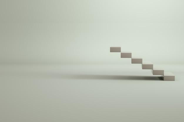 Model 3d białej klatki schodowej. klatka schodowa z białej cegły. pusta przestrzeń. pojedyncze obiekty na białym tle