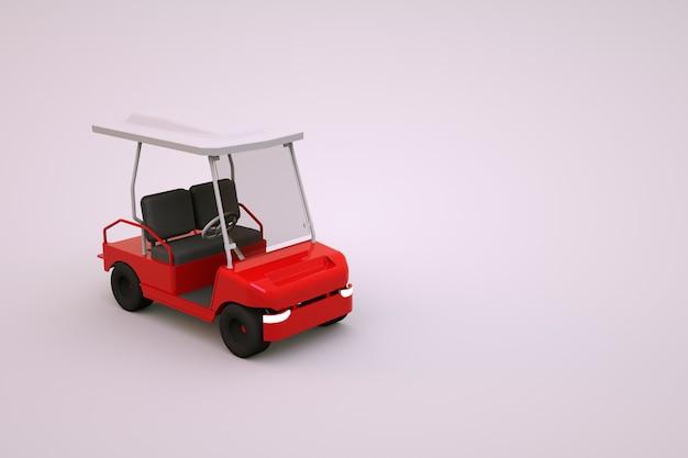 Model 3d elektrycznego czerwonego wózka golfowego. pole golfowe samochód sportowy na fioletowym tle na białym tle. 3d obraz wózka golfowego