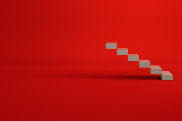Model 3d klatki schodowej wykonanej z białych płytek. schody w pustej przestrzeni. grafika komputerowa. pojedyncze obiekty na czerwonym tle.