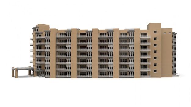 Model 3d kondominium. dom z apartamentami z dziedzińcem. renderowania 3d.