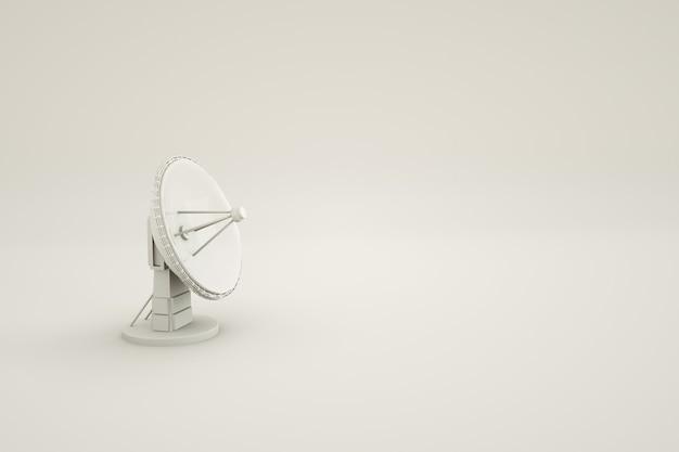 Model 3d okrągłej anteny telewizyjnej na izolowanym białym tle antena telewizji satelitarnej 3d izometryczna