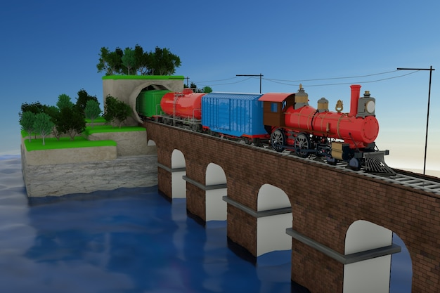 Model 3d pociągu wyjeżdżającego z tunelu. pociąg z samochodami na moście kolejowym. pociąg towarowy na szynach