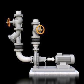Model 3d przemysłowej sekcji pompy i rury z zaworami odcinającymi na czarnej przestrzeni izolowanej. 3d ilustracji.