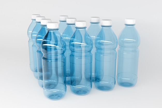 Model 3d przezroczystych plastikowych butelek o wielkości 1,5 litra. butelki stoją w równych rzędach symetrycznie w kształcie piramidy na białej izolowanej ścianie