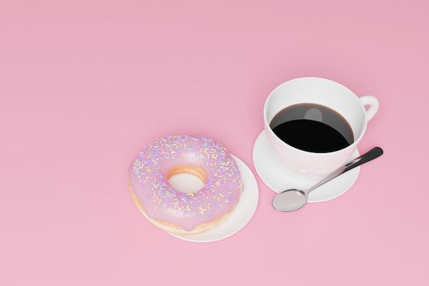 Model 3d render, mięso śniadania, kawy i pączki.