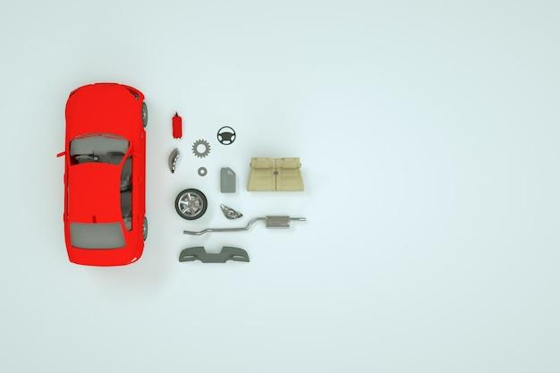 Model 3d samochodu i jego części zamiennych. naprawa czerwonego samochodu. model izometryczny samochodu i jego części zamienne. białe tło.