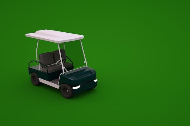 Model 3d sportowego samochodu golfowego na zielonym tle na białym tle. izometryczny samochód golfowy, grafika 3d, zbliżenie.