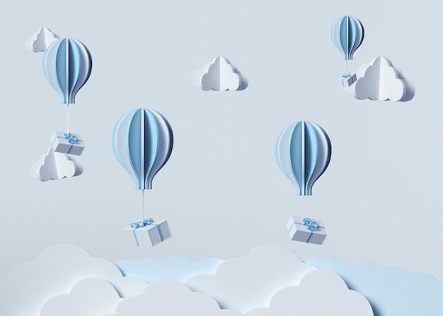 Model 3d z chmurami i balonami na ogrzane powietrze