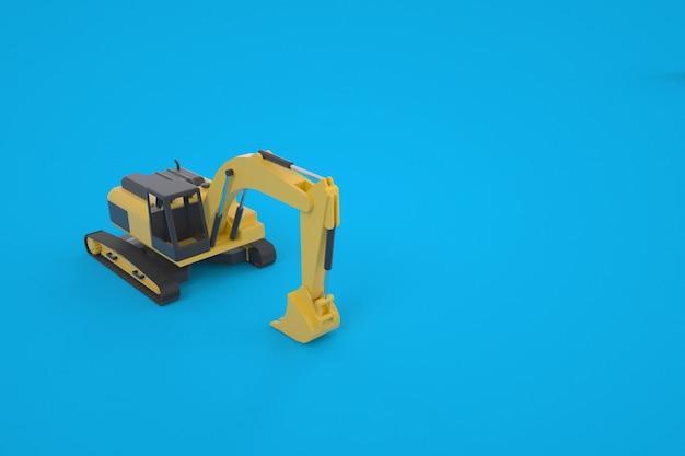 Model 3d żółtej koparki. maszyna do prac budowlanych. maszyna z łyżką do kopania. grafika. koparka na białym tle na niebieskim tle.