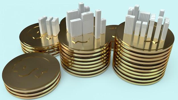 Model budynku i złote monety dla zawartości nieruchomości.