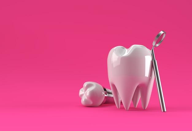 Model dentystyczny zęba przedtrzonowego rendering 3d.