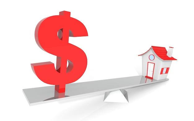 Model domu i symbol dolara amerykańskiego balansującego na huśtawce