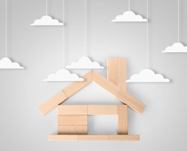 Model domu z drewna w formie diagramu